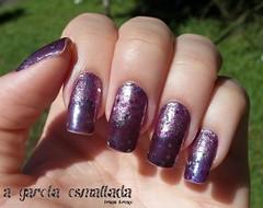 Nail Art: Degradê Invertido com Glitter (A Garota Esmaltada) Tags: agarotaesmaltada unhas nails unhasdecoradas unhasartísticas nailart naildesign esmaltes nailpolish manicure degradê gradiente degradêinvertido roxo purple glitter glitterball ombré