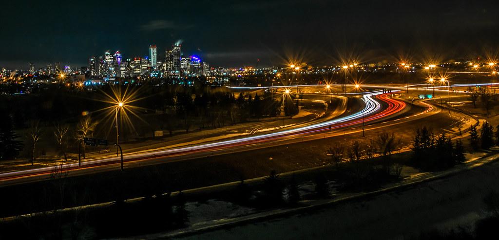 98cd68fe9414 Night Time In Calgary (ironsidedonald) Tags  calgarytower city long  exposure downtown saddledome night