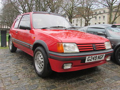 Peugeot 205 1.6 GTi G249 NGF (Andrew 2.8i) Tags: queen queens square bristol breakfast club classic classics car cars show meet avenue drivers all types transport youngtimer oldtimer peugeot 205 16 gti french hot hatch hatchback uk unitedkingdom