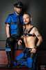Tom & Joe 01 (WF portraits) Tags: portrait man male couple onlocation leather gayleather blueleather harness gaybeards tattoo gaycouple skin beard usa aut