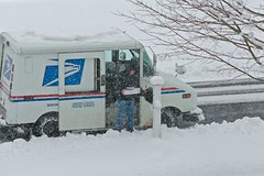 Priority Mail (smilla4) Tags: candid unitedstatespostalservice mailman mailbox prioritymail mailtruck snow snowstorm tree weather april maine