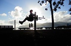 I wanted to do some leg raises, but it just didn't work out. (Shamus O'Reilly) Tags: morning me sunrise funny exercise australia esplanade cairns shamus actionshot workingout fitnessstation
