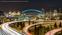 CenturyLink Field Interchange (P8203255-Edit) (Michael.Lee.Pics.NYC) Tags: seattle night washington downtown waterfront traffic i5 olympus interstate 12thavenue i90 interchange mkii markii lighttrail em5 drjoserizalbridge voigtlandernokton25mm centurylinkfield livecomposite
