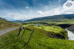 Skagafjordur Iceland (Einar Schioth) Tags: road summer sky cloud sunshine clouds canon river landscape photo iceland outdoor ngc picture canyon ísland nationalgeographic einarschioth