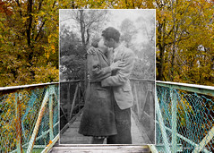 """Foster Park: Circa 1944 & 2015"" (D A Baker) Tags: rephotography foster park fort ft wayne indiana suspension bridge st saint marys river 1944 2015 dear photograph looking into past high school sweethearts bw vintage now then daniel baker da united states unitedstates america refotografie"