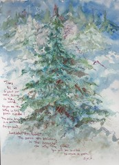 Poem in the Forest (SandraNestle) Tags: christmas trees winter forest poem aquarelle journaling momentintime watercolorart sketchbookart sandranestle