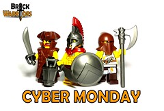 Cyber Monday (BrickWarriors - Ryan) Tags: lego coat pirate sword axe cape hood shield accessories lantern monday custom cyber spartan cutlass tricorn executioner minifigures brickwarriors