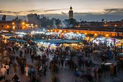 Marrakesh Market (Origin_AL) Tags: mosque africa marrakech morocco dusk slowshutterspeed blur sunset sky people market lights evening travel marrakesh clouds sonyrx100mk4 colours koutoubia