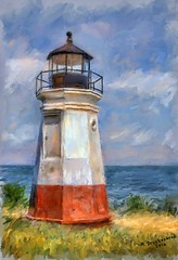 The Vermilion Lighthouse in Vermilion, OH painted in Corel Painter 2016 (PhotosToArtByMike) Tags: vermilionlighthouse corelpainter2016 vermilionohio digitalpainting vermilionriver lakeerie lightstation southernshore vermilion ohio oh eriecounty loraincounty