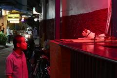 Bar cat and man on soi 22 - Bangkok (ashabot) Tags: cat red night nightlife nightshots bangkok thailand bar soi love nightlights people eyetoeye stare