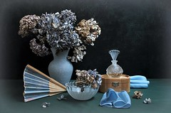 Winter Romance (Esther Spektor - Thanks for 12+millions views..) Tags: stilllife naturemorte bodegon naturezamorta stilleben naturamorta composition creativephotography artisticphoto arrangement art winter romance memories poetic tabletop flowers bouquet hydrangea vase fan perfume box scarf bottle bowl glass wooden silk availablelight blue teal beige green brown black estherspektor canon