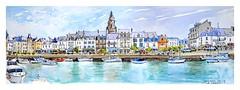 Le Croisic - Pays de Loire - France (guymoll) Tags: lecroisic france croquis sketch aquarelle watercolour watercolor bateaux ships boats port harbour paysdeloire