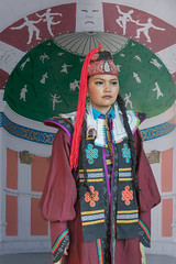 Woman in traditional attire (tmeallen) Tags: woman theater colourful russian ethnic minority built khovd traditionalattire westernmongolia
