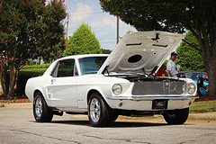 1967 Ford Mustang (osubuckialum) Tags: show cruise white cars ford nc cobra muscle northcarolina august 1967 mustang custom 67 carshow garner musclecar stang 428 2015 cruisein cobrajet grill57