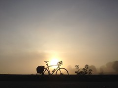 Early morning commute along the coast (billyrosendale) Tags: morning sea mist beach bike bicycle fog sunrise cycling coast edinburgh x cycle commute biking planet firthofforth cramond planetx kaffenback