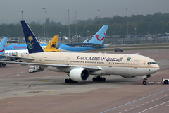 Boeing 777 Saudi Arabian Airlines HZ-AKM (NTG's pictures) Tags: manchester airport aircraft jets ground saudi operations boeing arabian airlines 777 airliners hzakm