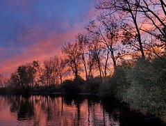 The Dark Pond (nelhiebelv) Tags: reflections pond michigan lansing powerplant ericksonstation cloudsstormssunsetssunrises