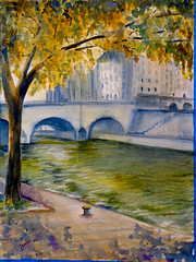 La Rivera del Sena (benilder) Tags: paris watercolor aquarelle riviere pont acuarela senna sena labelleza puentebenilde