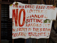 Drug Free Zone, New York, NY (Robby Virus) Tags: nyc newyorkcity ny newyork building sign standing warning sitting harlem manhattan no free front caution drug bigapple zone loitering violators prosecuted