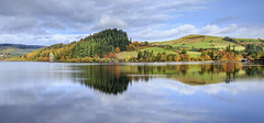 Autumn reflection (chrissmithphotos1) Tags: wood uk blue autumn sky urban lake reflection tree tower water wales rural sunrise landscape flat dam hill victorian scenic nobody scene reservoir inlet non tranquil stationary straining vyrnwy