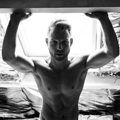 Joey (Davey-van-Lienden) Tags: shirtless bw white black window monochrome pecs muscles pits backlight silver hair square beard grit grey blackwhite nipples arm skin body masculine joey chest grain pit blonde biceps abs paleo bearded shredded armpits silverfoil shredz eatclean