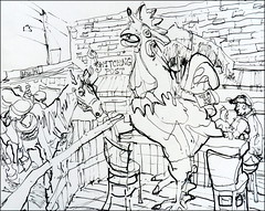 Rooster and Horse (Kerry Niemann) Tags: horse hitchingpost apachejuntion penandinklinedrawing