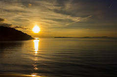 Sun down (ORIONSM) Tags: sunset sea water silhouette clouds golden bay dusk sony greece syvota rx100