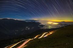 合歡山~彩色星軌●車軌~  Color Startrails & Light trail (Shang-fu Dai) Tags: night nikon taiwan 南投 nightscene formosa 台灣 starry startrails d800 合歡山 nantou hehuan 昆陽 星軌 strails 主峰 3237m 彩色星軌
