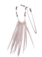 Long Polished Brass Chevron Lariat/Y Necklace with Gray Leather Fringe and Charms (amaliyjewelry) Tags: leather fashion grey necklace long y handmade antique gray jewelry charm chain lariat etsy recycle boho brass chevron repurposed amaliyjewelry