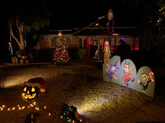 Decorate once for Halloween and Christmas (Distraction Limited) Tags: winterhavenfestivaloflights winterhaven festivaloflights tucson arizona christmas christmaslights winterhaven20161223 cutoutfigures thenightmarebeforechristmas nightmarebeforechristmas winterhavenfestivaloflights2016