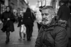 Taking Five (Leanne Boulton) Tags: people monochrome depthoffield urban street candid portrait portraiture streetphotography candidstreetphotography candidportrait streetlife man male face facial hair expression look emotion feeling atmosphere mood isolation moustache waxed beard style stylish fashion parker tone texture detail bokeh natural outdoor light shade shadow city scene human life living humanity society culture canon 5d canoneos5dmarkiii 70mm character ef2470mmf28liiusm black white blackwhite bw mono blackandwhite glasgow scotland uk