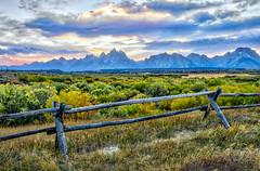 Another Teton sunset (sandy bohlken) Tags: 2016 day6 grandtetonnationalpark jacksonhole nationalpark september tetons wyoming sunset vacation buckrailfence