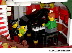 Victorian Dream Home on LEGO Ideas - Piano room (buggyirk) Tags: building whimsical district creator house queen victorian modular buggyirk historic architecture historical home anne dream bassinet piano grand baby figure minifigure lego afol moc dark green red white orange fireplace bedroom living room dining dinette set wing chair tufted couch interior exterior garden turret tower gable finial stained glass window porch grandfather clock chandelier light brick built spiral staircase stairs pillar flower tree bush ideas crawl space vent arch tile family legodreamhome fantasy whimsy miniature