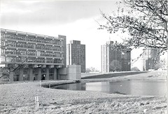 Around Campus (Essex University - Photographic Archive) Tags: ph35 essex campus blackandwhite water trees towers nature library lakes