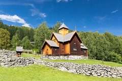 Uvdal Stave Church (villeah) Tags: norway sunny landscape church architecture rockfence uvdalstavechurch scenery uvdal buskerud no
