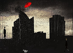 Rainy days (bdira3) Tags: surreal city skyline red unbrella two silhuettes cat rain drops textures