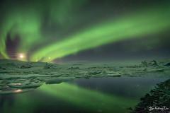 Northern lights with reflection (FollowingNature (Yao Liu)) Tags: northernlights aurora jökulsárlóniceberglagoon iceland followingnature icelandphotos icelandphototrip icelandwinter icelandnorthernlights icelandwinterphotos icelandphotography snow icelandphotoswinter icelandphotographylocations