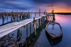 Side by Side (CResende) Tags: susnset water travel mirror boats pier wood fishing village color sticks cresende portugal visitportugal longexposure progreyusa nikon d810 1424 serenity tranquility nightphotography carrasqueira