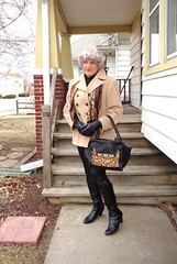 Wisconsin Winter Camouflage (Laurette Victoria) Tags: winter porch gloves scarf leggings boots gray purse laurette woman milwaukee wisconsin