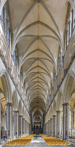 salisbury cathedral wiltshire uk panorama nave choir gothic early english