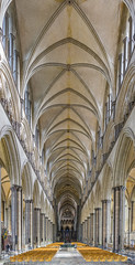 Salisbury Cathedral, Wiltshire - Nave Panorama (JackPeasePhotography) Tags: salisbury cathedral wiltshire uk panorama nave choir gothic early english