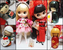 my small collection of Kokeshi dolls given to me by friends