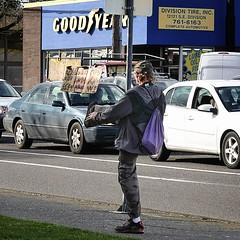 Field Goal (eyepiphany) Tags: kickingit fieldgoal streetphotography smalladvertising successfuladvertising panhandler animatepanhandler