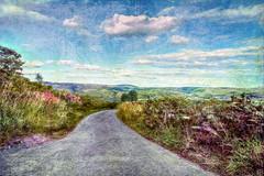 Eccles Pike to Kinder Scout. (sidibousaid60) Tags: road uk sky clouds photoshop landscape nationalpark outdoor derbyshire peakdistrict hills textures corelpainter kinderscout chapelenlefrith ecclespike