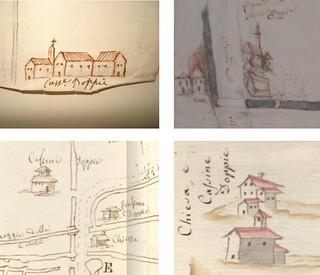 Particolari riferiti alla rappresentazione di Cascine Doppie in alcuni disegni sei e settecenteschi.