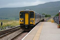 2015-08-20 @ Ribblehead, Cumbria: 2H89 1155 Carlisle-Leeds: 57363 52796 57796 [DSC_0945] (graeme9022) Tags: uk blue car station rural train countryside purple cross diesel cab country transport rail super class lilac single transportation multiple british express passenger northern railways 158 unit hydraulic 153 livery sprinter sountry 158796 153363