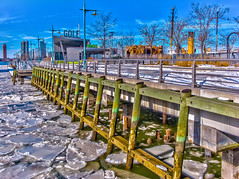 Frozen River and Greeen Pier (Arocena) Tags: new york newyork landscape pier unitedstates manhattan 25 tribeca lower hdr lowermanhattan 2014 pier25 wallpaperenabled