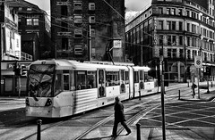Transport Manchester. (curly42) Tags: travel metro transport tram publictransport streetcar urbantransport tramcar 3015 shudehill manchestertrams manchestermetro