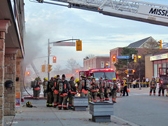 Fire in Streetsville. (Gillian Floyd Photography) Tags: fire smoke engines ladder firefighters streetsville