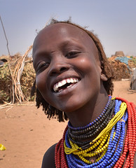 Happy Girl, Dassanech, Ethiopia (Rod Waddington) Tags: africa portrait smile laughing outdoors happy beads village african candid traditional culture valle tribal valley afrika omovalley ethiopia tribe ethnic joking cultural ethnicity afrique ethiopian omo etiopia etiopian omorate dassanech